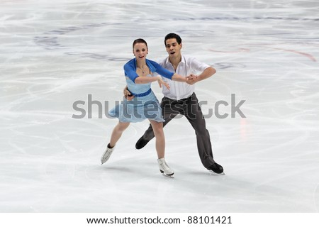 "MOSCOW - APRIL 30: Anna JoAnn Cappellini and Luca Lanotte compete in the pair ice dance at the 2011 World championship figure skating event at the Palace of sports ""Megasport"" on April 30, 2011 in Moscow, Russia."