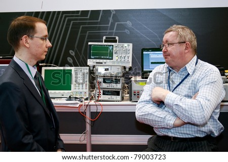 MOSCOW - APRIL 19: Digital oscillograph booth at the international exhibition of  electronic industry ExpoElectronica, ElectronTechExpo, LEDTechExpo on April 19, 2011 in Moscow