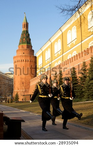 MOSCOW - APRIL 8: Guard of honor march at Kremlin Sentry April 8, 2009 in Moscow, Russia. Russian males age 18-27 years old are required to register for minimum 1 year compulsory military service.