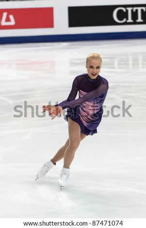 "MOSCOW - APRIL 30: Kiira Korpi competes in the single ladies free figure skating event at the 2011 World championship on April 30, 2011 at the Palace of sports ""Megasport"" in Moscow, Russia."