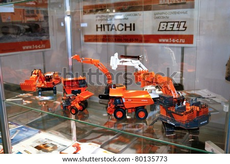 MOSCOW - APRIL 13: Large earth moving heavy equipment at the international exhibition of  the Mining and Processing of Metals and Minerals, MiningWorld on April 13, 2011 in Moscow
