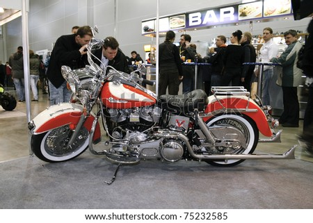 MOSCOW - APRIL 1: Motorcycle Harley-Davidson FLH 1340 at the Moscow specialized Exhibition  of motor cycling industry in Russia on April 1, 2011 in Moscow, Russia