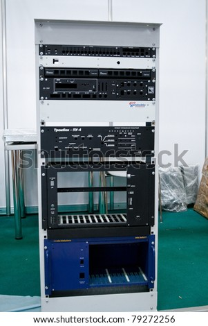 MOSCOW - APRIL 21: Rack equipment at the international exhibition of  electronic industry ExpoElectronica, ElectronTechExpo, LEDTechExpo on April 21, 2011 in Moscow