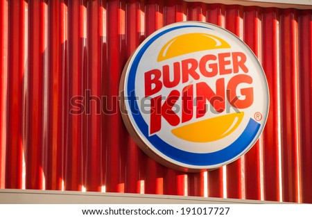 "MOSCOW - APRIL 29: The logo of the fast food chain ""Burger King"", April 29, 2014, Moscow, Russia. Burger King is a global chain of hamburger fast food restaurants"