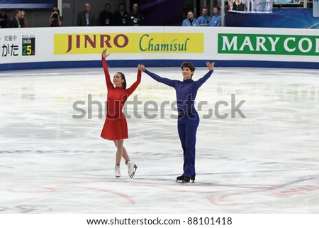MOSCOW - APRIL 30: Vanessa Crone and Paul Poirier compete in the pair ice dance at the 2011 World championship figure skating event at the Palace of sports \