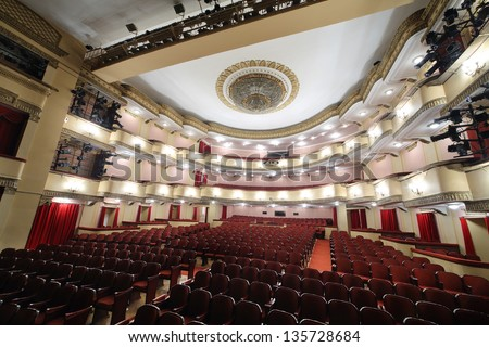 MOSCOW - APRIL 23: View from stage t o auditorium of Large stage in Vakhtangov Theatre on April 23, 2012 in Moscow, Russia. Light and sound systems of Vakhtangov Theatre are one of best in Russia.