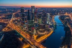 Moscow City International Business Center at Twilight and Moscow Cityscape. Aerial View. Russia