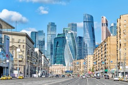moscow city russia architecture historical skyline urban street cityscape view of old residential building and modern office skyscrapers in business district on background russian capital landscape