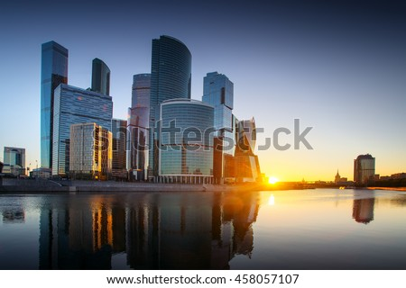 Moscow-city, Russia. Moscow International Business Center. at sunset #458057107