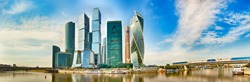 Moscow City skyline . Moscow International Business Centre at day time with Moskva river in foreground . High resolution Panorama