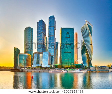 Moscow City skyline . Moscow International Business Centre at day time with Moskva river in foreground  #1027915435