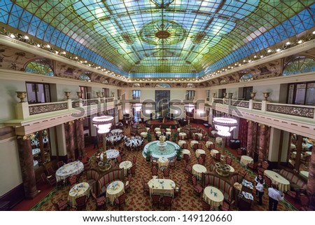 MOSCOW - DEC 4: People eat at an expensive restaurant in Metropol Hotel on December 4, 2012 in Moscow, Russia.