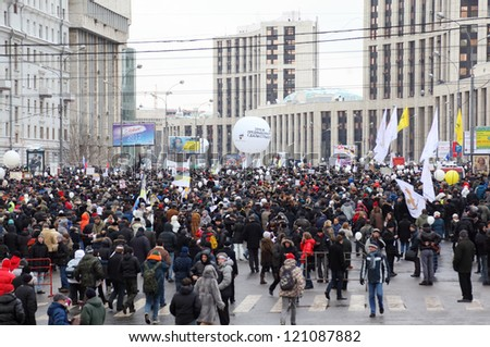 MOSCOW - DECEMBER 24: Opposition rally before election of President on Sakharov Prospect on December 24, 2011 in Moscow, Russia.