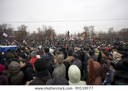 MOSCOW - DECEMBER 10: 50 thousands in Moscow protest Putin and election results  on Bolotnaya Square. Biggest protest in Russia for the last 20 years, December 10, 2011 in Moscow, Russia.