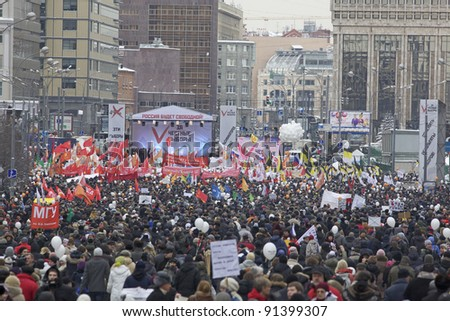MOSCOW - DECEMBER 24: 100 thousands in Moscow protest Putin and election results on Sakharov Avenue. Biggest protest in Russia for the last 20 years, December 24, 2011 in Moscow, Russia.