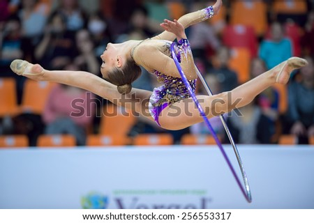 MOSCOW - Feb 20: Dina Averina performs at Alina Kabaeva Champions Cup on Rhythmic Gymnastics , in Moscow on February 20, 2015