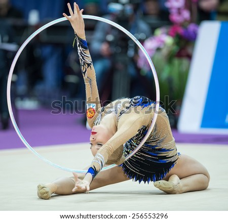 MOSCOW - Feb 20: Yana Kudryavtseva performs at Alina Kabaeva Champions Cup on Rhythmic Gymnastics , in Moscow on February 20, 2015