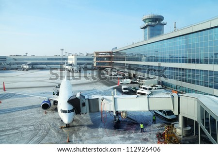 MOSCOW - FEBRUARY 10: Airplane in airport Domodedovo in February 10, 2012 in Moscow. Domodedovo airport - largest and modern airport in Russia.