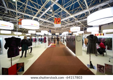 MOSCOW - FEBRUARY 26: Exhibition hall on CPM Collection Premiere in Expo center February 26, 2010 in Moscow, Russia. The CPM presented itself with 1,300 brands as usual multi-faceted.