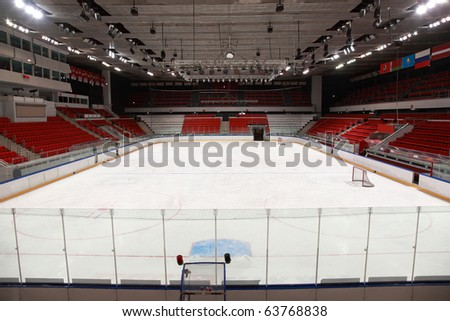 """MOSCOW - FEBRUARY 20: Stadium before  hockey match """"Spartak""""-""""Severstal"""" on ice field in sports palace """"Sokolniki"""" February 20, 2010 in Moscow, Russia"""