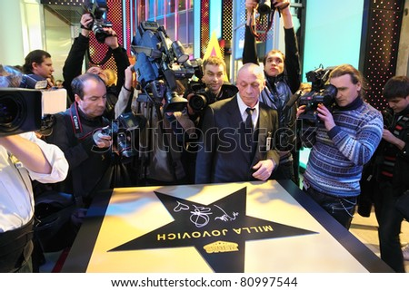 MOSCOW - FEBRUARY 13: Star of Milla Jovovich at Walk of Fame Vegas in mall Vegas on February 13, 2011 in Moscow, Russia. - stock photo