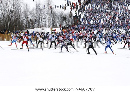 "MOSCOW - FEBRUARY 5 : unidentified  Participants of traditional mass ski competitions ""The Moscow ski track - 2012"" February 5, 2011 in Moscow, Russia. #94687789"