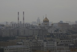 Moscow gloomy view of the city from above, smok ecology city view