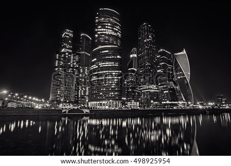 Moscow international business centre (Moscow-city) at night. View from the embankment. (Russia) Monochrome image. #498925954