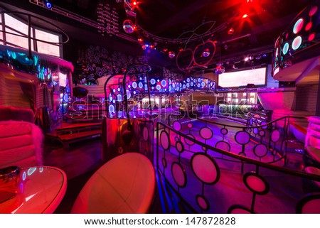 ... nightclub Pacha with bar and dance floor on January 18, 2013 in Moscow