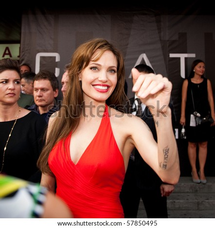 """MOSCOW - JULY 25: Actress Angelina Jolie at the premiere of the movie """"Salt"""" at the """"October"""" Cinema. July 25, 2010 in Moscow, Russia."""