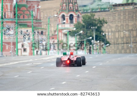 MOSCOW - JULY 17: Giancarlo Fisichella of Scuderia Ferrari competes at the Bavaria Moscow City Racing 2011 at Kremlin embankment on July 17, 2011 in Moscow, Russia.