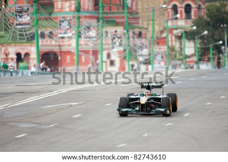MOSCOW - JULY 17: Karun Chandhok of Team Lotus competes at the Bavaria Moscow City Racing 2011 at Kremlin embankment on July 17, 2011 in Moscow, Russia.