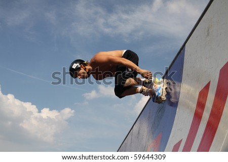 MOSCOW - JULY 31: Marco de Santi (Brazil) performs a jump in Luzhniki Olympic Arena on July 31, 2010 in Moscow, Russia.