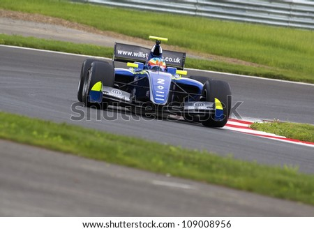 MOSCOW - JULY 13: Will  Stevens driver of Renault Formula 3.5 team racing at the Moscow Raceway circuit in the Eurocup Formula Renault 3.5 on July 13, 2012 in Moscow, Russia