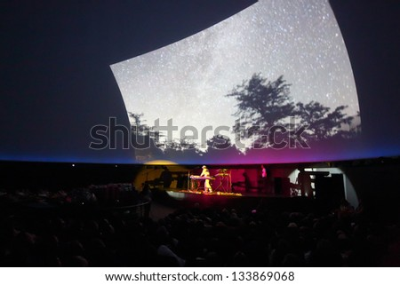 MOSCOW - JUN 15: Andrey Klimkovsky represents concert program Music of heavenly spheres in Big star hall of Moscow planetarium, on Jun 15, 2012 in Moscow, Russia.