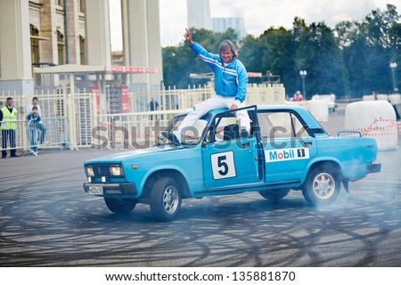 MOSCOW - JUN 30: Demonstrative performance of member from stuntmen team Avtorodeo Togliatti Trick during Speedfest at Olympic complex Luzhniki, June 30, 2012, Moscow, Russia.