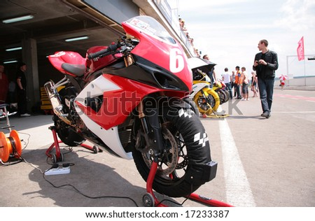 "MOSCOW - JUNE 22: Bike before paddock on The second stage of the Championship of Russia June 22, 2008 in autodrome ""Miachkovo"", Moscow."