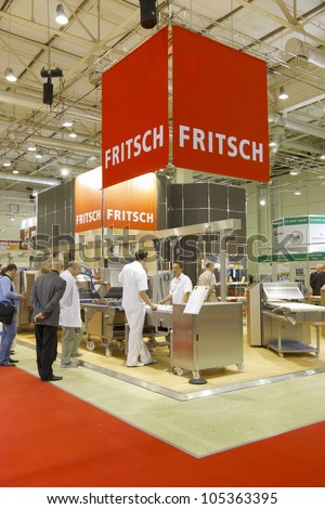 MOSCOW-JUNE 15:Exposition of the German company FRITSCH develops and manufactures equipment for baking all bakery products at the international exhibition MODERN BAKERY 2012 on June 15, 2012 in Moscow