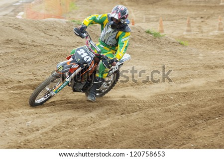 MOSCOW - JUNE 24: K.Al-Shaer ride on a motocross competition of Red Racing Group club on June 24, 2012 in Moscow, Krilatskoe, Russia