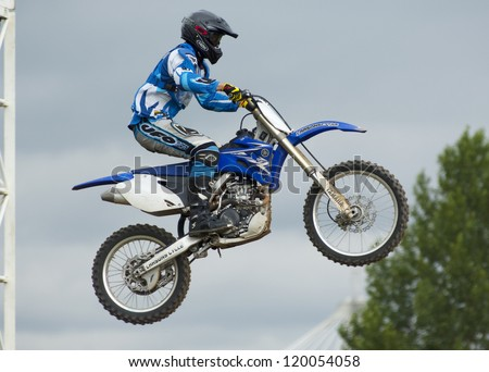 MOSCOW - JUNE 24: P.Silaev on a clubs tournament of motocross competition of Red Racing Group club on June 24, 2012 in Moscow, Krilatskoe, Russia