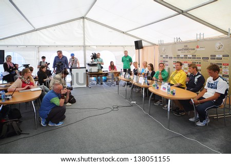 MOSCOW - JUNE 6: Press conference with Russian participants of competition before tournament Grand Slam of beach volleyball 2012, on June 6, 2012 in Moscow, Russia.