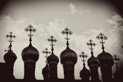 Moscow Kremlin architecture. Vintage style sepia photo.
