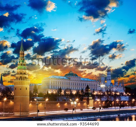 Moscow Kremlin in fires by cold winter night. Russia