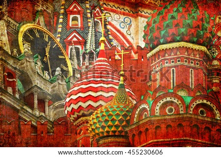 Moscow Kremlin (Spasskaya Tower) and Saint Basil's Cathedral. Ancient Russian Architecture Symbols.( Red Square. Russia). Architectural abstract. Old paper texture background