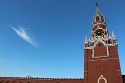 Moscow Kremlin tower on a sunny day against the sky