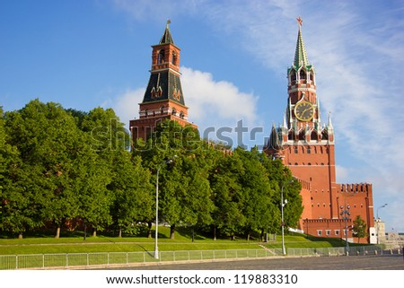 Moscow Kremlin towers at the morning light