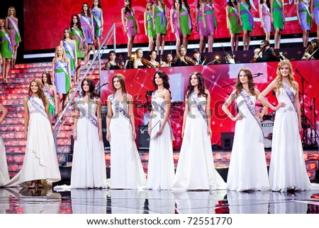 MOSCOW - MARCH, 3: Finalists on the stage before announcement of results in the Miss Russia 2011 beauty contest on March 3, 2011 in Moscow.