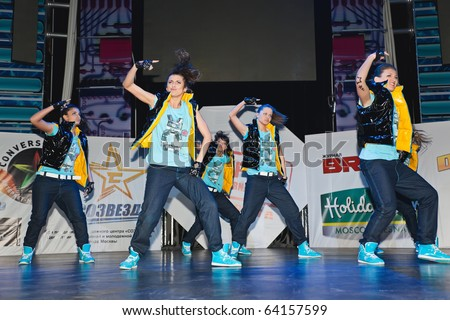 MOSCOW - MARCH 27 : members break dance team SM - Super Girls on stage during contest Hip Hop International - Cup Of Russia March 27, 2010 in Moscow, Russia. These girls took first place in Adults cat