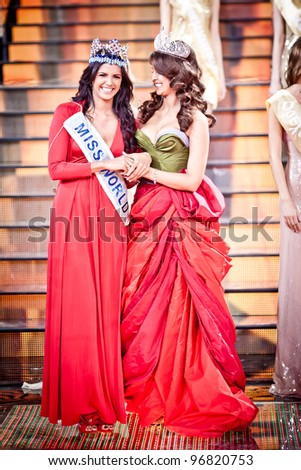 MOSCOW - MARCH 3: Miss Russia 2011 Natalia Gantimurova (R)  and Miss World 2011 Ivian Sarcos announce the winner of Miss Russia 2012 beauty contest on March 3, 2012 in Moscow, Russia.