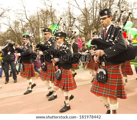MOSCOW - MARCH 15, 2014: Parade in Irish holiday St. Patrick`s day  in Moscow.